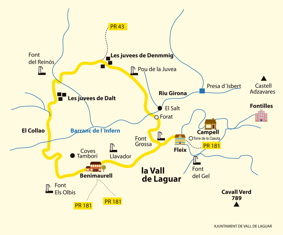 Barranc de l'Infern Loop HIking Trail Map